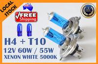 H4 55W/60W 12V Xenon White 5000K Car High Low Beam Halogen Bulbs Globes + T10