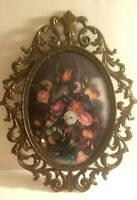 """Vintage Metal Brass Italian Ornate Oval Picture Frame Floral w/ Convex Glass 13"""""""