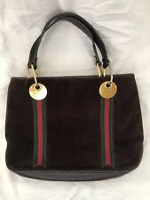 GUCCI Authentic Vintage Brown Suede Double Web Stripe Tote Bag VGUC