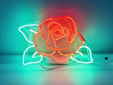 New Rose Flower Decor Artwork Real Glass Neon Light Sign 15""