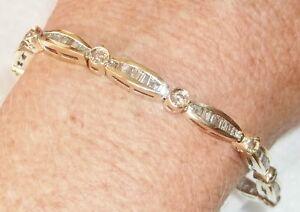 14 kt Yellow Gold Baguette & Round Diamond Bracelet 3 Carats Channel Set Links