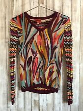 MISSONI 4 Target Sheer Red Multicolor Wavy Striped Long Sleeved Knit Top Small S