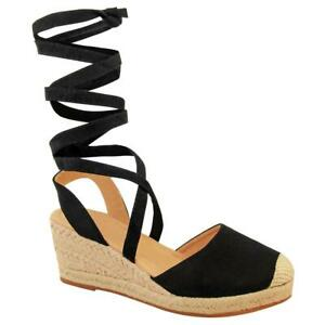 Womens Ladies Summer Low Wedge Sandals Ankle Lace Tie Up Espadrilles Shoes Size