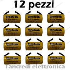 12 PEZZI BATTERIA RICARICABILE NI-CD SC 1,2V 2000mAh 22x42mm A SALDARE 30/307