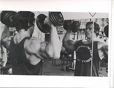 Arnold Schwarzenegger Dumbell Press At World Gym Workout Bodybuilding Photo B&W