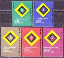 POLAND 1968 Matchbox Label - Cat.Z#838 set, 2nd Intl. Biennial of Graphic Art.