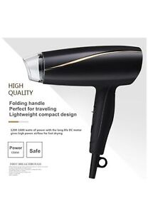 Greatic Professional Folding Ion Hair Dryer With Overheat Protection Travel/Home