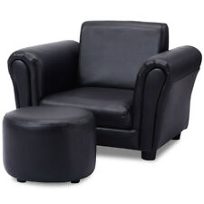 Black Kids Sofa Armrest Chair Couch Children Toddler Birthday Gift w/ Ottoman