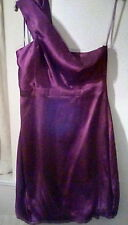Pure Silk Armani Exchange Deep Purple Asymmetric Thick Strap Dress sz8 Stunning!