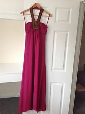 BRAND NEW LADIES 'TEDBAKER' PINK/GOLD BEADED MAXI DRESS. SIZE 8/TED/1. RRP £249.