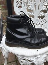Vintage Doc Martens Black Leather Rare  6hole Uk7/41 Unisex Boots Made In Englan