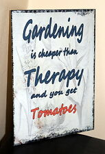 Vintage shabby chic Gardening is cheaper than therapy metal wall sign plaque