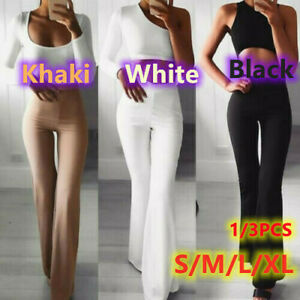 Women Solid High Waist Flare Wide Leg Yoga Pants Bell Bottom Chic Trousers