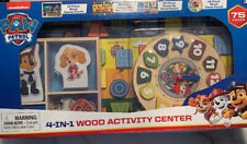 """PAW PATROL """"4-IN-1 WOOD ACTIVITY CENTER"""" 75 PIECE SET BY SPIN MASTER (NIB)"""