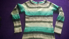 Funky Gap green & white striped lambswool blend jumper VGC work casual