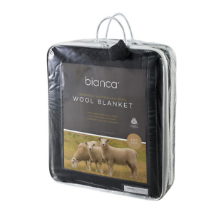 Finest Quality Australian Wool Blanket 480gsm Charcoal by bianca