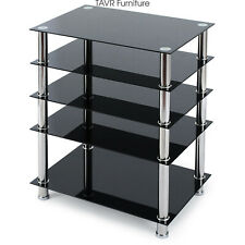 5-Tier Av Component Media Stand Stereo Cabinet Audio-Video Tower,Tempered Glass