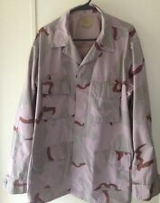 Military Camouflage Jacket, Large Long, 3 Color Desert, Combat,Field, Distressed