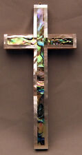 """Olivewood  4 1/2"""" Cross with Abalone and Mother of Pearl from the Holyland"""