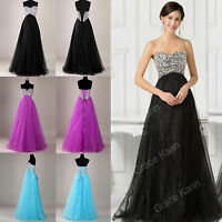 Beaded Corset Long Bridesmaid Formal Ball Gown Party Cocktail Evening Prom Dress