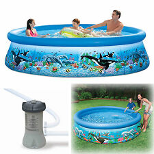 """New listing Inflatable Swimming Pool 10'x30"""" w/Pump Filter Family Round Above Ground New"""