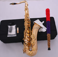 Professional Gold Bb Tenor Saxophone High F# Sax Low B and C Hand Engraving bell
