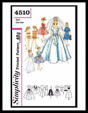 Simplicity 4510 Barbie Fashion TEEN DOLL Fabric Sewing Pattern Vintage BRIDAL