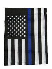 "12x18 Embroidered Usa Police Thin Blue Line Nylon Sleeved Garden Flag 12""x18"""