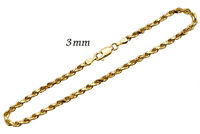 "14k Solid Yellow Gold Rope Chain Bracelet 3mm Men's Women Sz 7"""