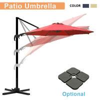10Ft Cantilever Patio Hanging Umbrella Offset 360° Adjustable Outdoor Sun Shade