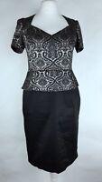 M&S Ladies Black Glitter Baroque Jacquard Peplum Pencil Dress UK 14