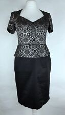 M&S Ladies Occasion Peplum Pencil Dress UK 14 Black Mix Wiggle Gatsby Print (L)