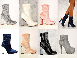 Lot Clear Chunky Clear High Heels Ankle Booties Crushed Velvet Platform Boots