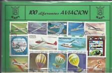 Conjunto de 100 Sellos usados diferentes del tema: AVIACION.