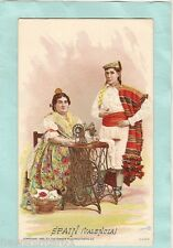 #A.  1892 SINGER SEWING MACHINE COSTUME CARD - SPAIN, VALENCIA, MAN IN WHITE