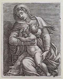 Adamo Scultori (Ghisi) - Madonna and Child - 16th Century Old Master Engraving