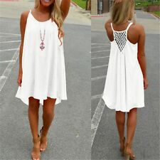 HOT Sexy Summer Boho Sleeveless Chiffon Beach Evening Party Cocktail Short Dress
