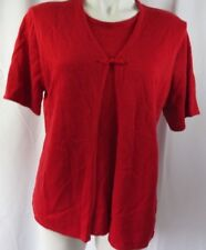 Sag Harbor Womens Large Faux Cardigan Sweater Twin Set Red S/S Pullover Stretch