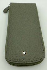 Mont Blanc Olive Green Round Pen Pouch 3 Pens