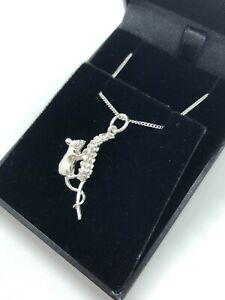 STERLING SILVER 925 MOUSE NECKLACE - MOUSE ON CORN PENDANT + CURB CHAIN BOXED