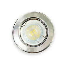 Fixed Shiny Chrome GU10 Ceiling Downlight Spot Light  Fitting Metal Round Lights