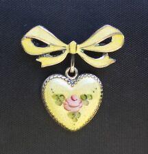 Large Vintage Sterling Enamel Puffy Heart Charm w/ Enamel  Bow Pin