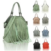 Women's Fringed Fashion Canvas Tote Hobo Shopper Handbag Crossbody Shoulder Bag