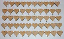 50 WOODEN HEARTS SHAPES, CRAFT BLANKS, EMBELLISHMENT, HOBBY, MODEL,  MDF
