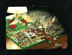 CHRISTMAS Tabby Kitten Cat Puzzle Pieces Lamp Berries Greeting Card W/ TRACKING