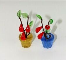 2 Glass place name holders Vtg Yellow blue Red flower  Dinner party Wedding 44