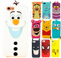 For iPhone 5 6 7 8 Plus > 3D FITTED Case Cute Cartoon Funny Soft Gel Phone Cover