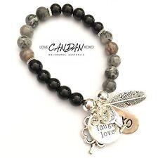 30th Birthday Gift Friendship Bracelet Angel Feather Luck Clover Wine Glass XOXO