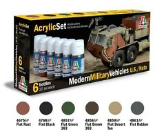 q ITALERI ACRYLIC PAINT 442AP - Set 6 Colori - Modern Military Vehicles US/NATO