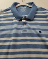 IZOD Men's Short Sleeve Polo Shirt 2XL XXL Blue White Stripes Stretch Casual